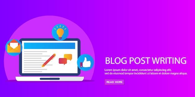Blogpost schrijven, contentmarketing, promotie, platte vectorbanner voor publicatie van artikelen