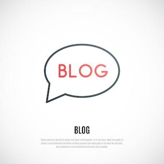 Blogteken dat op witte achtergrond wordt geïsoleerd