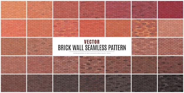Blok bakstenen muur naadloze patroon collectie set textuur achtergrond.