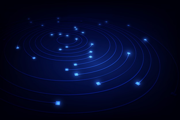 Blok ketting netwerk cirkel ring bewegingslijn in blauw licht concept,