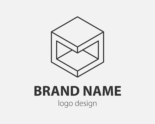 Blok logo abstract ontwerp technologie communicatie vector sjabloon lineaire stijl. intelligentie internet web logotype concept pictogram.