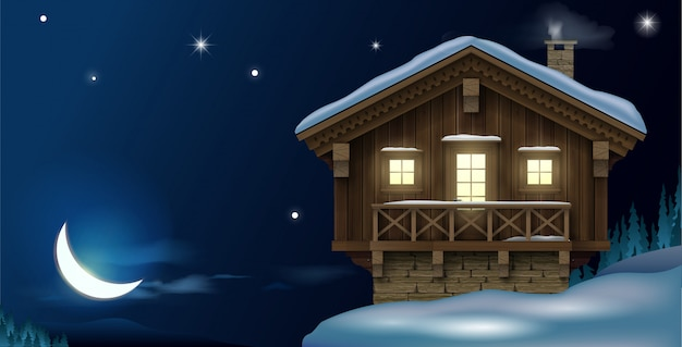 Blokhuis in de winterbergen