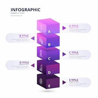Blokkeer lagen infographic sjabloon