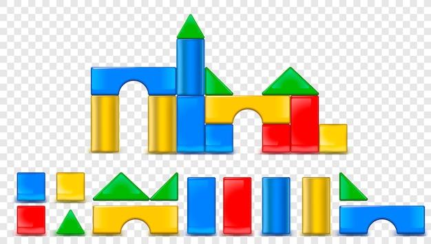 Blokken speelset voor kinderen spel of illustratie.