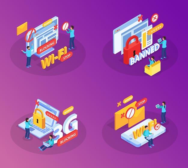 Blokkeren van internetwebsites gebruikers apparaten van wifi-netwerkconcept 4 isometrische composities met slotsymbolen illustratie,