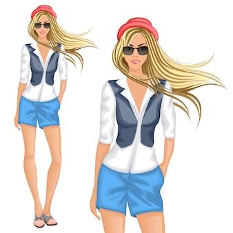Blond hipster meisje karakter