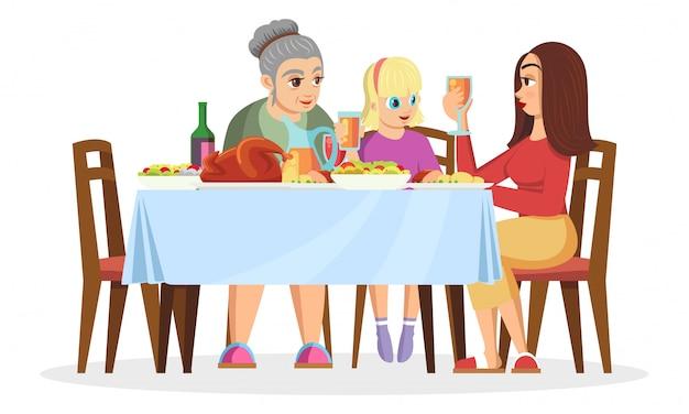 Blond meisje, haar moeder of oudere zus en grootmoeder aan tafel zitten, chatten, eten, vakantie vieren. gezinswaarden, vrouwen komen samen. cartoon afbeelding op wit.
