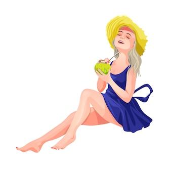 Blond meisje, zittend in een hoed en een blauwe jurk met een mojito in haar handen. meisje drinkt een drankje van kokos met een rietje. geïsoleerde illustratie in cartoon-stijl.