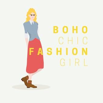 Blond model met een lange rok en jasje in de boho-stijl