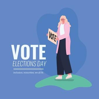 Blond vrouwenbeeldverhaal met het ontwerp van het stemaanplakbiljet, de verkiezingsdag van de stemming