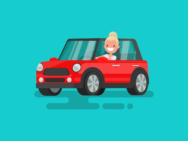 Blonde autorijden illustratie