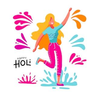 Blonde jonge vrouw die pret heeft die kleurrijke plonsen op het de lentefestival van holi werpt. sjabloon voor uitnodiging poster. illustratie in platte cartoon-stijl