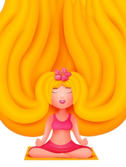 Blonde jonge vrouw in roze sportkostuum die op mat situeren. yoga studio