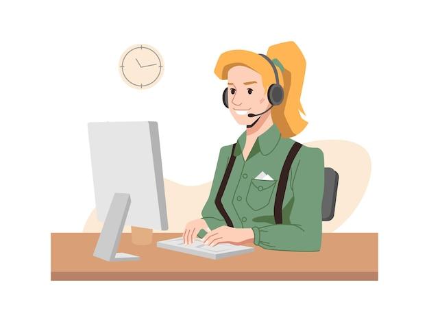 Blonde telefoniste in hoofdtelefoon callcentermedewerker