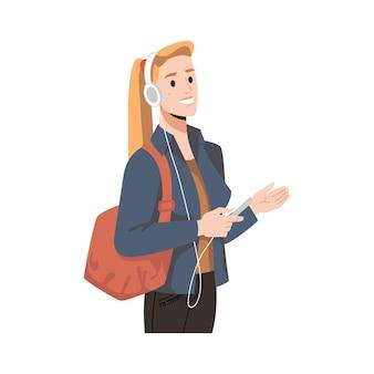 Blonde vrouw in hoofdtelefoons en smartphone met tas geïsoleerd platte cartoon karakter vector