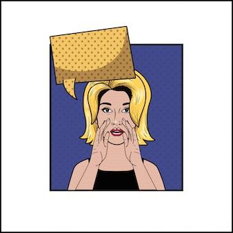 Blonde vrouw met spraak bubbel pop-art stijl