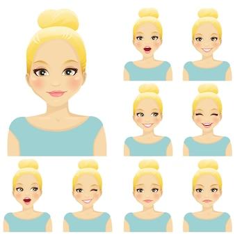 Blonde vrouw met verschillende gezichtsuitdrukkingen set
