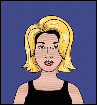 Blonde vrouw pop-art stijl
