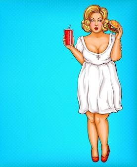 Blonde vrouw, zwaarlijvigheid van fastfood in pop-art