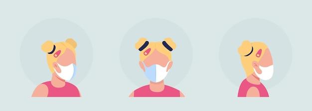 Blonde vrouwelijke semi-egale kleur vector karakter avatar met masker set