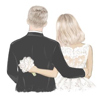 Blondjes bruid en bruidegom op trouwdag hand getekende illustratie