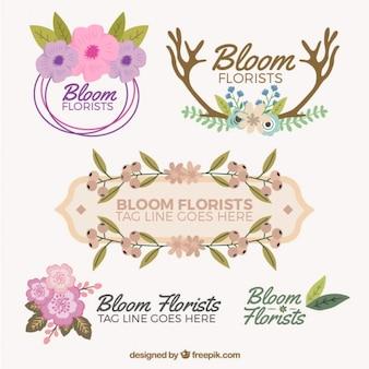 Bloom bloemisten badges ontwerp
