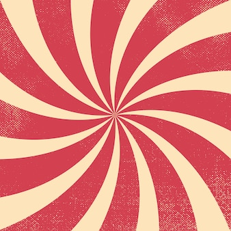 Bloosde rode en witte circus retro golvende burst achtergrond