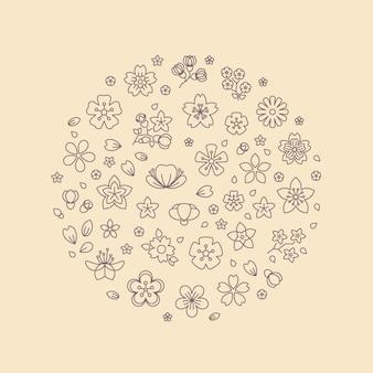 Blossom bloem dunne lijn pictogrammen in cirkel ontwerp