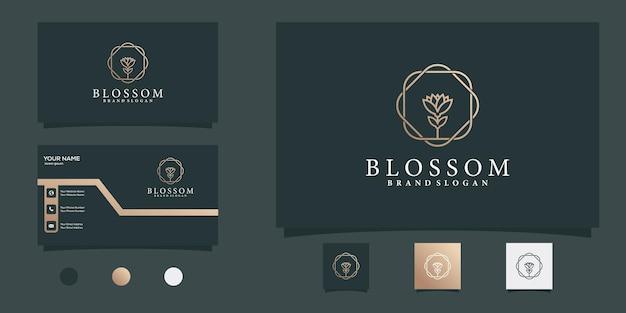 Blossom-logo met creatief cirkelvormig gouden lijnkunstconcept en visitekaartjeontwerp premium vector