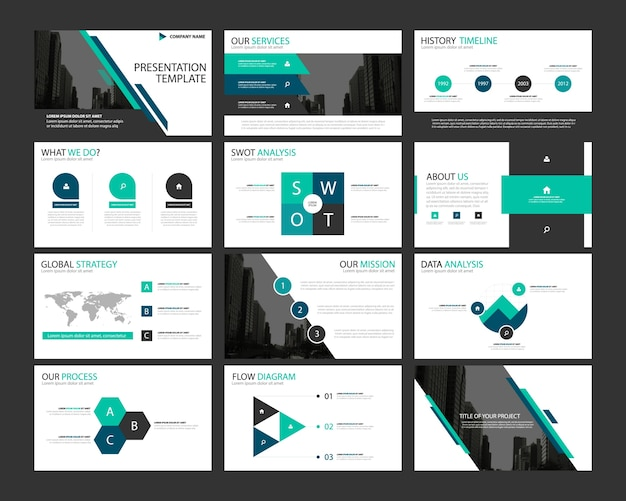 Blue abstract presentatie templates infographic