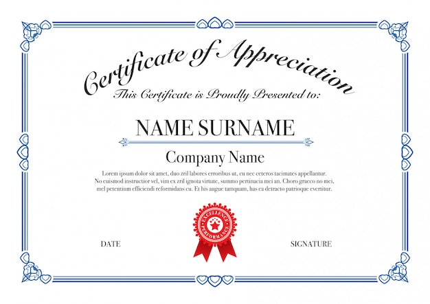 Blue border certificaat van waardering voor uitmuntende prestaties