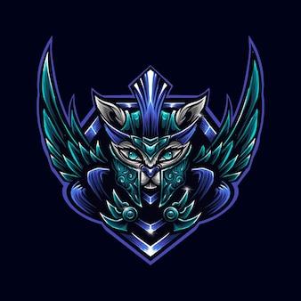 Blue cat-krijger met vleugel logo mascot illustrator