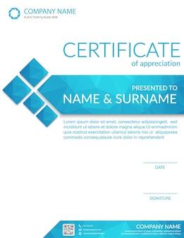 Blue certificate of appreciation.vector