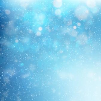 Blue christmas sneeuwvlokken achtergrond. lichteffect