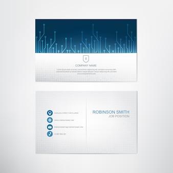 Blue circuits-visitekaartjesjabloon, contact en bedrijfskaartontwerp, vector.