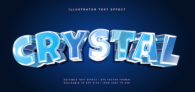 Blue crystal chrome tekststijl lettertype-effect