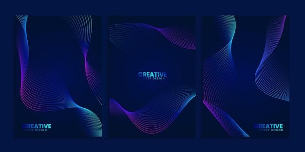 Blue dark covers-collectie met neon golvende lijnen