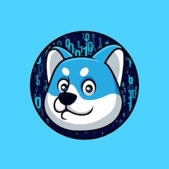 Blue doge-codering creatief cartoon-logo-ontwerp
