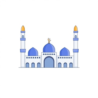 Blue dome mosque vector icon illustration