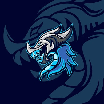 Blue dragon voor gaming-mascotte