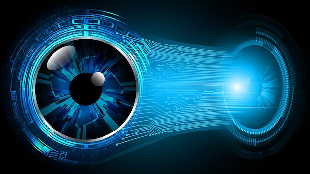 Blue eye cyber circuit toekomstige technologie concept achtergrond gesloten hangslot op digitale
