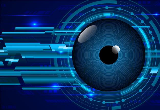 Blue eye cyber circuit toekomstige technologie concept achtergrond