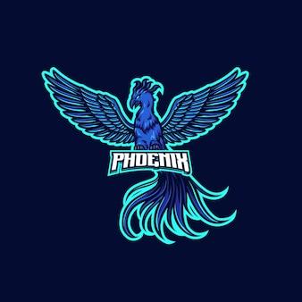 Blue fire phoenix mascotte logo sjabloon logo