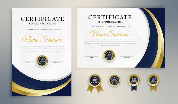 Blue gold award certificaatsjabloon