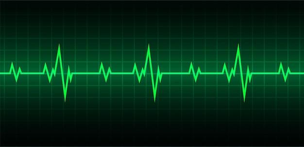 Blue heart hartslagmeter met signaal heart beat ekg icon wave