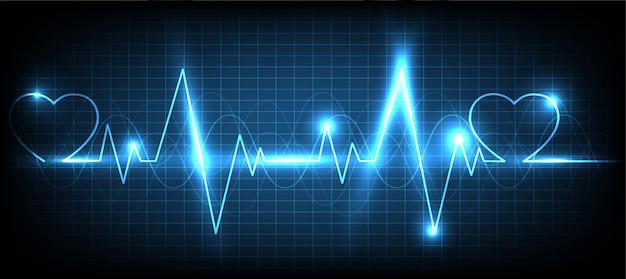 Blue heart-impulmonitor met signaalachtergrond