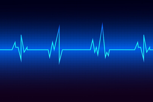Blue heart-pulsmonitor met signaal