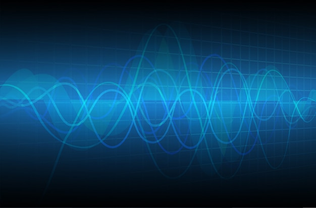 Blue heart-pulsmonitor met signaal.