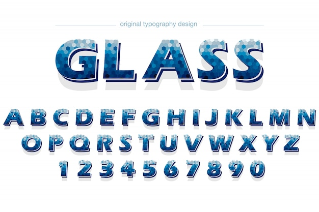 Blue hexagon pattern typography design