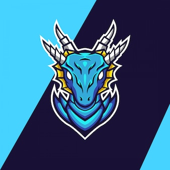Blue ice dragon mascot logo ontwerp